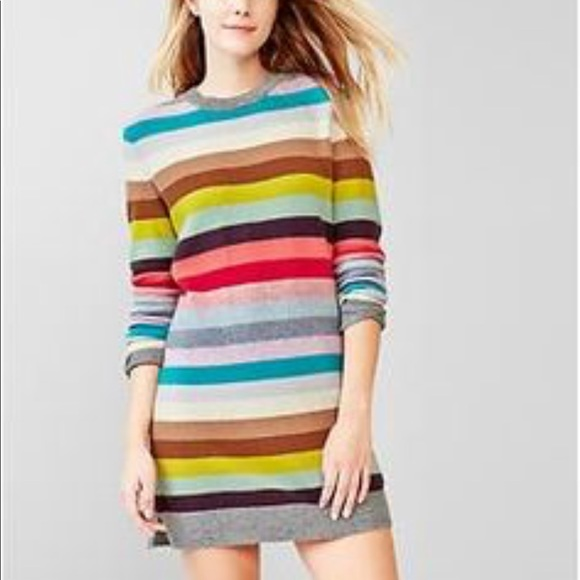 1b9a0126abd GAP Dresses   Skirts - Gap Striped Lambswool Sweater Dress Rainbow